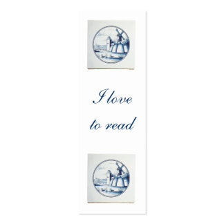 Dutch traditional blue tile bookmark business card template