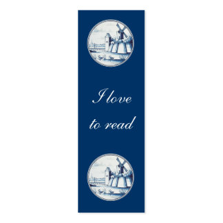 Dutch traditional blue tile bookmark business card templates