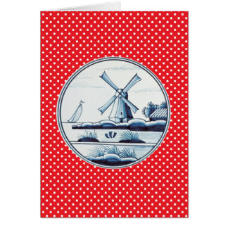 Dutch traditional blue tile card
