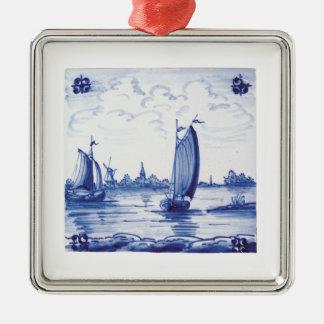 Dutch traditional blue tile christmas ornament