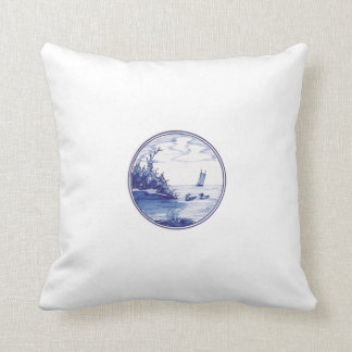 Dutch traditional blue tile throw pillow