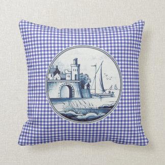 Dutch traditional blue tile throw pillows