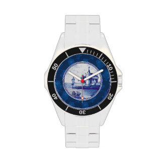 Dutch traditional blue tile wristwatches