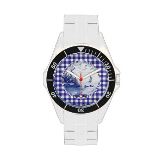 Dutch traditional blue tile wrist watches