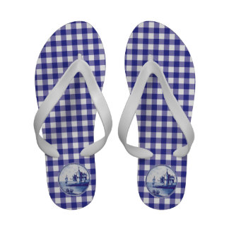 Dutch traditional blue tile flip flops