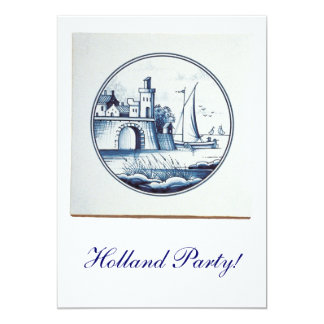 "Dutch traditional blue tile 5"" x 7"" invitation card"