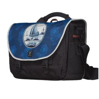 Dutch traditional blue tile laptop messenger bag