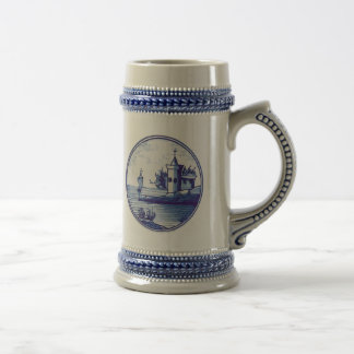 Dutch traditional blue tile 18 oz beer stein