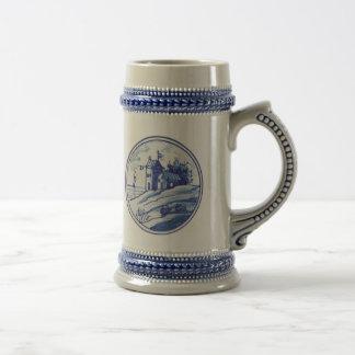 Dutch traditional blue tile mugs