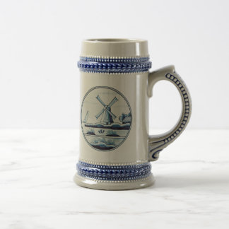 Dutch traditional blue tile beer steins