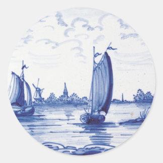 Dutch traditional blue tile round sticker