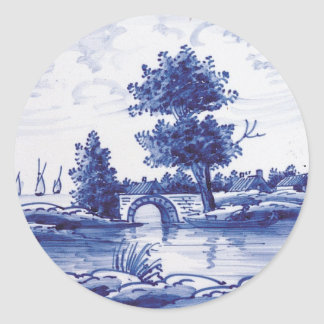 Dutch traditional blue tile round stickers
