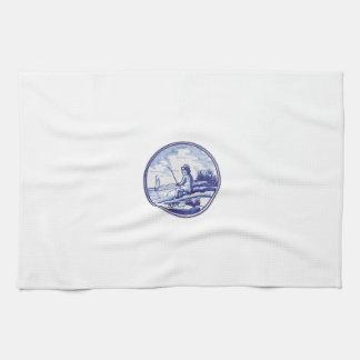 Dutch traditional blue tile hand towel