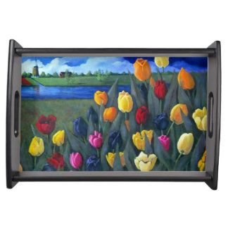 Dutch Tulips and Landscape: Original Painting Serving Tray