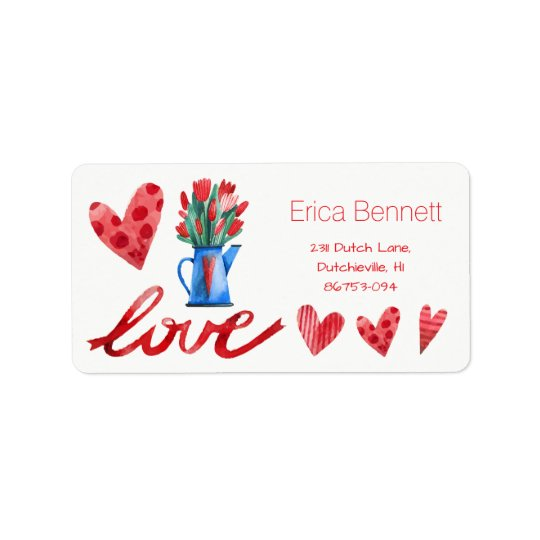 Dutch Tulips Flowers Red Hearts Love Address Label
