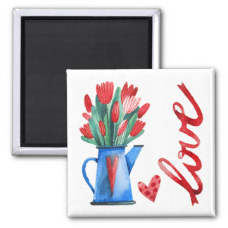 Dutch Tulips Flowers Red Hearts Love Magnet