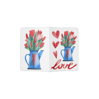 Dutch Tulips Flowers Red Hearts Love Passport Passport Holder