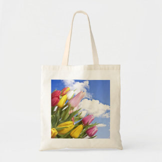 Dutch tulips on a bag with blue sky