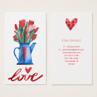Dutch Tulips Red Heart Love Wedding Gift Tag