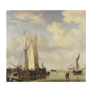 Dutch Vessels Inshore and Men Bathing, 1661 Canvas Print