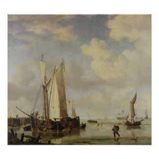 Dutch Vessels Inshore and Men Bathing, 1661 Poster