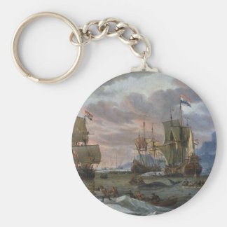 Dutch Whalers off a Rocky Coast Basic Round Button Key Ring