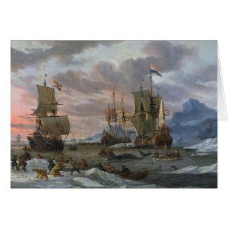 Dutch Whalers off a Rocky Coast Greeting Card