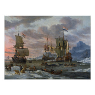 Dutch Whalers off a Rocky Coast Poster