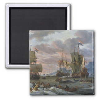 Dutch Whalers off a Rocky Coast Square Magnet