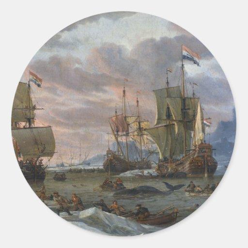 Dutch Whalers off a Rocky Coast Round Sticker