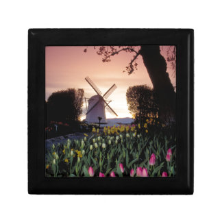 Dutch windmill & flowerbeds small square gift box