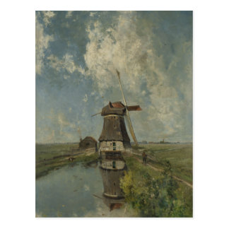 Dutch windmill on polder waterway Paul Gabriël Postcard