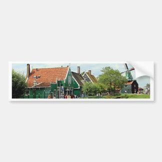 Dutch windmill village bumper sticker