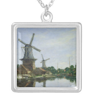 Dutch Windmills, 1884 Silver Plated Necklace