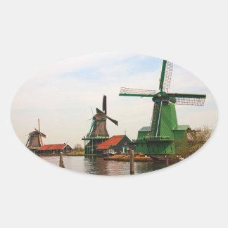 Dutch Windmills oval sticker