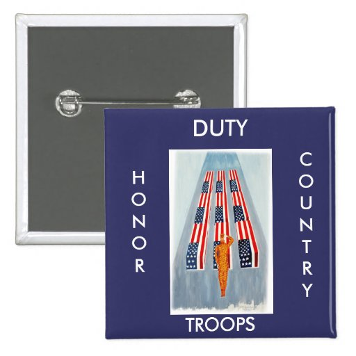 Duty Honor Country Troops Button Button