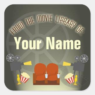 DVD Movie Library Label Square Sticker