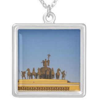 Dvortsovaya Square, Triumphal Arch, sunset 2 Silver Plated Necklace