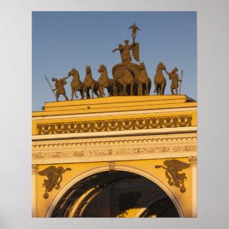 Dvortsovaya Square, Triumphal Arch, sunset Poster
