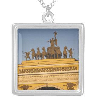 Dvortsovaya Square, Triumphal Arch, sunset Silver Plated Necklace
