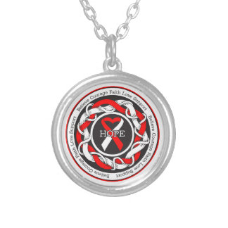 DVT Hope Intertwined Ribbon Round Pendant Necklace