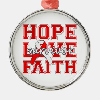 DVT ‎Hope Love Faith Survivor Silver-Colored Round Decoration