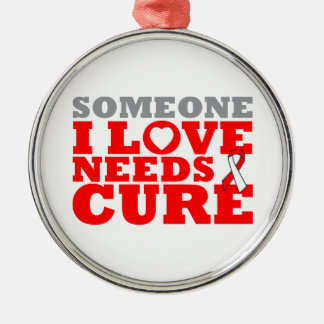DVT Someone I Love Needs A Cure Silver-Colored Round Decoration