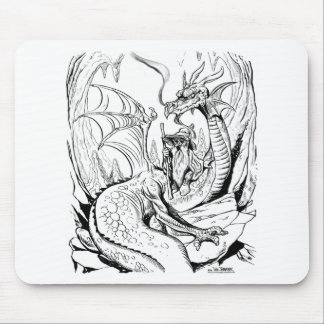 dwarf and dragon lineart mouse pad