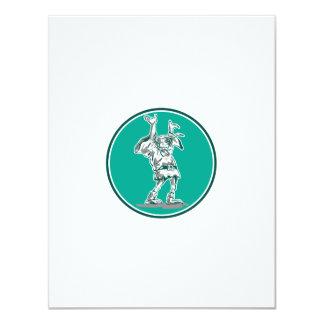 Dwarf Elf Raising Hands Circle Cartoon 11 Cm X 14 Cm Invitation Card