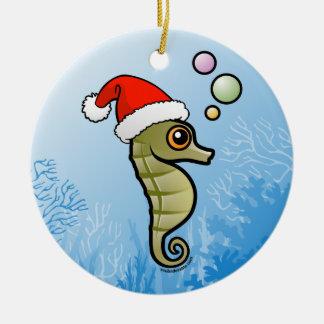 Dwarf Seahorse Santa Christmas Ornament