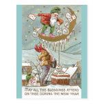 Dwarves with Sacks of Gold Vintage New Year Postcard