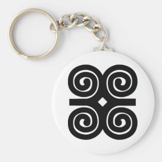 Dwennimmen - Strength and Humility Adinkra Symbol Basic Round Button Key Ring