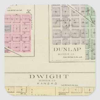 Dwight, Wilsey, Dunlap, Kansas Square Sticker