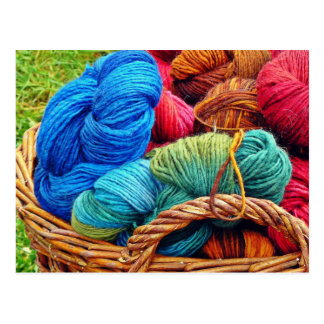Dyed Wool for Knitting Postcard